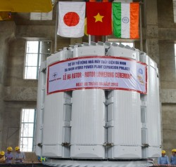 the rotor of the generator of da nhim hp extension project has been successfully installed