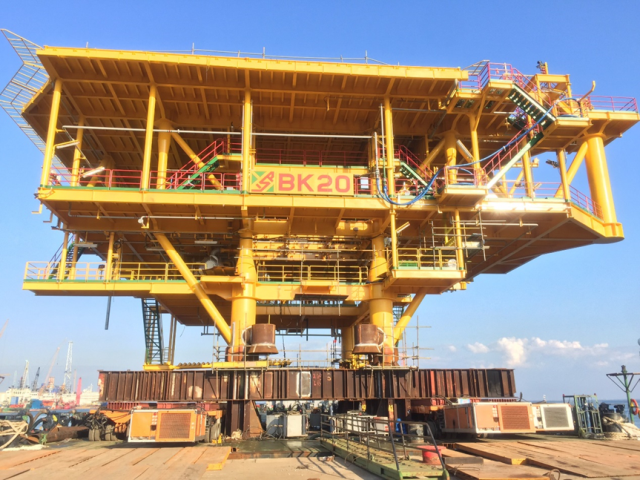 successfully launching the topside of bk20 drilling rig
