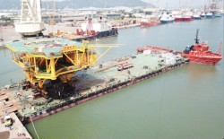 the superstructure of bk21 wellhead rig at bach ho field has been successfully launched