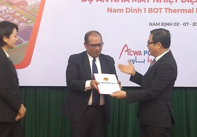 The Investment Certificate has awarded for Nam Dinh I Thermal Power Project